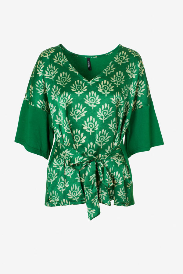 Printed V-neck blouse with belt