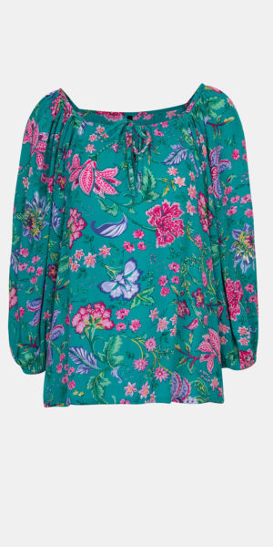 Floral Print Blouse with Tassels